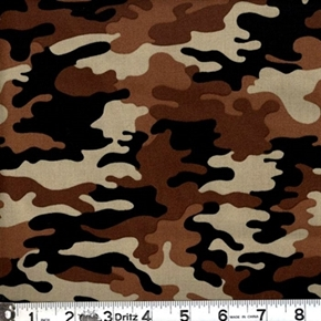 Kickin Camo Camouflage In Browns Cotton Fabric
