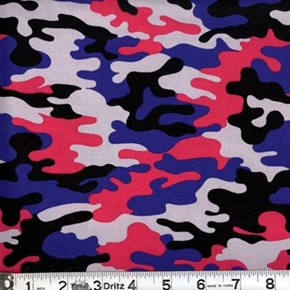 Kickin Camo Pink Purple Grey Black Camouflage Cotton Fabric
