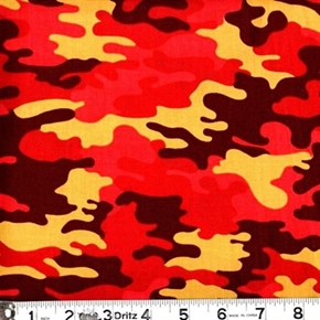 Kickin Camo Gold Red Rust Camouflage Cotton Fabric