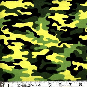 Kickin Camo Neon Green Black And Green Camouflage Cotton Fabric