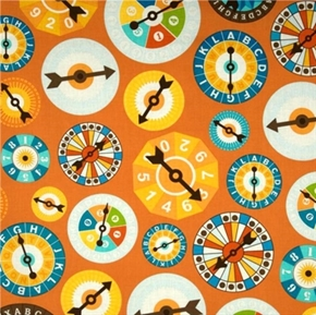 Fun Games Gameboard Spinners On Orange Cotton Fabric