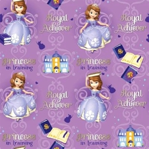 Disney Sofia The First Princess In Training Purple Cotton Fabric