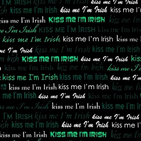 Picture of Kiss Me I'm Irish Green and White Words on Black Cotton Fabric