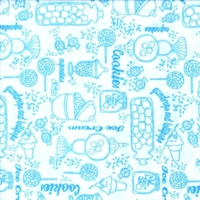 Gum Drops Lollipops Blue And White Sweetshoppe Toile Cotton Fabric