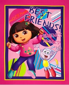 Dora The Explorer Boots Best Friends Buenos Amigos Large Fabric Panel