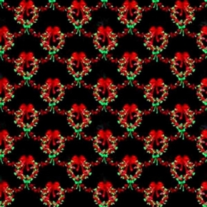 Sparkle Christmas Wreaths On Black Cotton Fabric