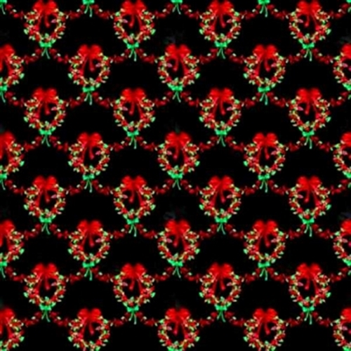 Sparkle Christmas Wreaths On Black Cotton Fabric