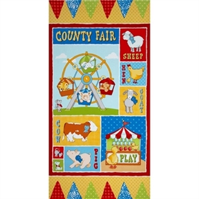 Picture of Cuteville County Fair Animals at the Fair 24x44 Large Fabric Panel