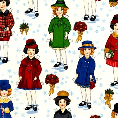 Holiday Paper Dolls Large Dolls And Snowflakes 24X22 Cotton Fabric
