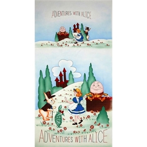 Adventures With Alice Wonderland Scene 24X44 Large Fabric Panel