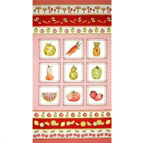 Fruitful Hands Fruit And Vegetables Squares 24X44 Large Fabric Panel