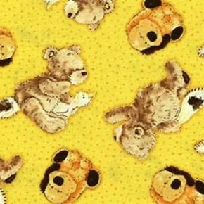 Picture of Popcorn the Bear and Friends on Yellow Cotton Fabric