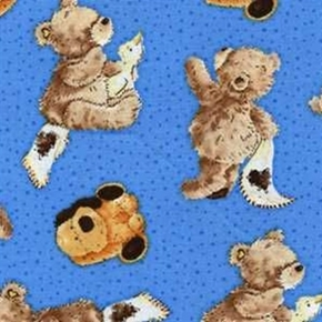 Popcorn The Bear Puppies And Ducks Cotton Fabric