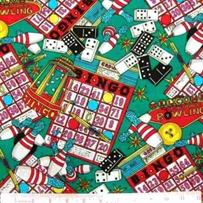 Fun and Games Bingo, Bowling, Dominoes Cotton Fabric