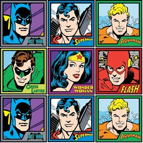 Dc Comics Superman Flash Batman In Squares 12X44 Stripe Cotton Fabric
