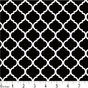 Mini Quatrefoil Lattice Pattern Lattice White On Black Cotton Fabric
