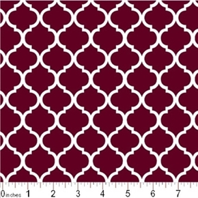 Mini Quatrefoil Lattice Pattern White On Burgundy Cotton Fabric