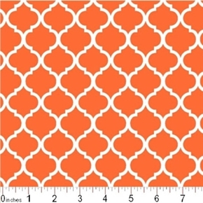 Mini Quatrefoil Lattice Pattern White On Burnt Orange Cotton Fabric