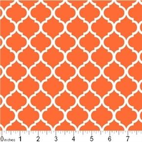 Picture of Mini Quatrefoil Lattice Pattern White on Burnt Orange Cotton Fabric