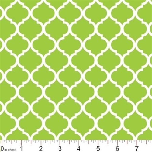 Mini Quatrefoil Lattice Pattern White On Citrus Green Cotton Fabric