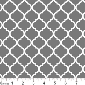 Mini Quatrefoil Lattice Pattern White On Gray Cotton Fabric