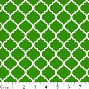 Mini Quatrefoil Lattice Pattern White On Kelly Green Cotton Fabric