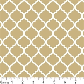 Mini Quatrefoil Lattice Pattern White On Khaki Brown Cotton Fabric