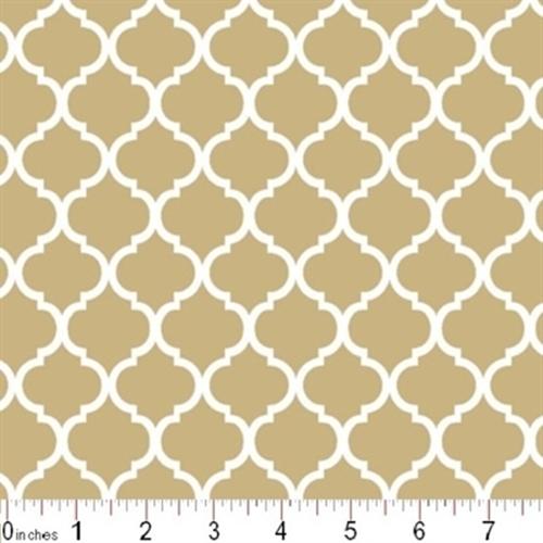 Mini Quatrefoil Lattice Pattern White On Khaki Brown Cotton Fabric