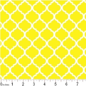 Mini Quatrefoil Lattice Pattern White On Lemon Yellow Cotton Fabric