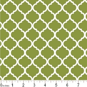 Mini Quatrefoil Lattice Pattern White On Moss Green Cotton Fabric