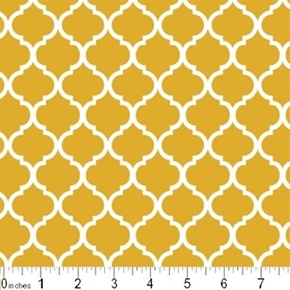 Mini Quatrefoil Lattice Pattern White On Mustard Yellow Cotton Fabric