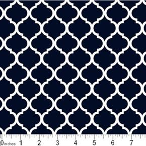 Mini Quatrefoil Lattice Pattern White On Navy Blue Cotton Fabric