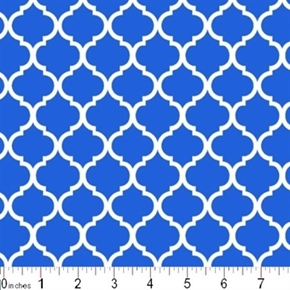 Mini Quatrefoil Lattice Pattern White On Royal Blue Cotton Fabric