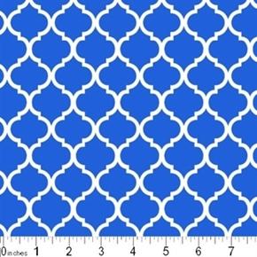 Mini Quatrefoil Lattice Pattern White On Royal Blue Cotton Fabric