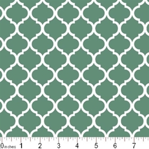 Mini Quatrefoil Lattice Pattern White On Spa Blue Cotton Fabric