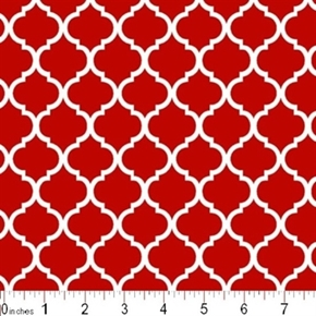 Mini Quatrefoil Lattice Pattern White On Tomato Red Cotton Fabric