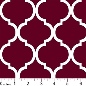 Quatrefoil Lattice Pattern White On Burgundy Cotton Fabric