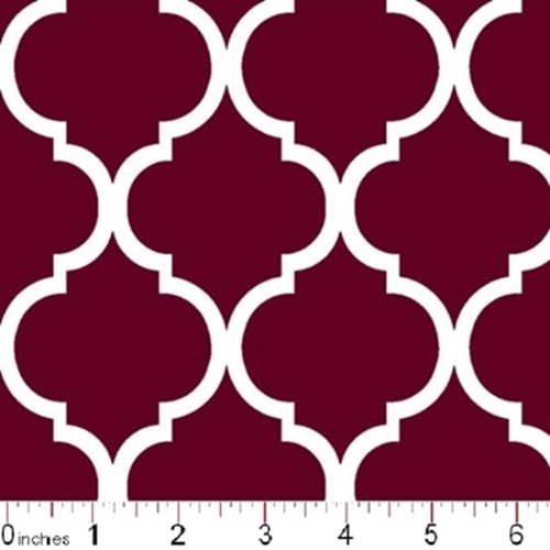 Quatrefoil Lattice Pattern White On Burgundy Cotton Fabric