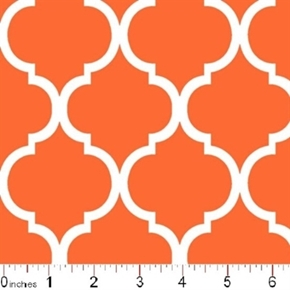 Quatrefoil Lattice Pattern White On Burnt Orange Cotton Fabric
