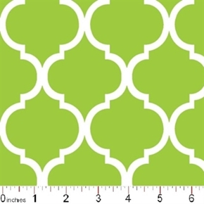 Quatrefoil Lattice Pattern White On Citrus Green Cotton Fabric