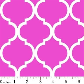 Quatrefoil Lattice Pattern White On Flamingo Pink Cotton Fabric