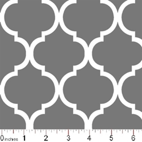 Quatrefoil Lattice Pattern White On Gray Cotton Fabric