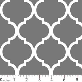 Quatrefoil Lattice Pattern White On Gray Cotton Fabric