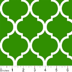 Quatrefoil Lattice Pattern White On Kelly Green Cotton Fabric
