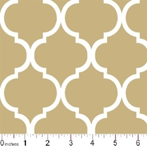 Quatrefoil Lattice Pattern White On Khaki Brown Cotton Fabric