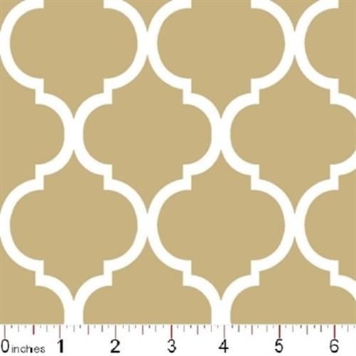 Quatrefoil Lattice Pattern White On Khaki Brown Cotton Fabric