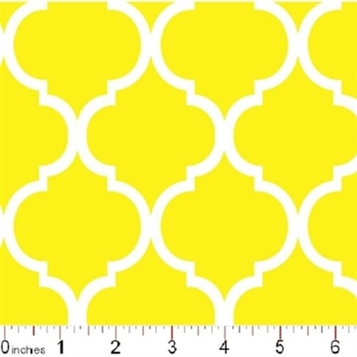 Quatrefoil Lattice Pattern White On Lemon Yellow Cotton Fabric