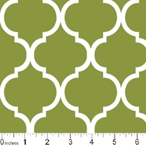 Quatrefoil Lattice Pattern White On Moss Green Cotton Fabric