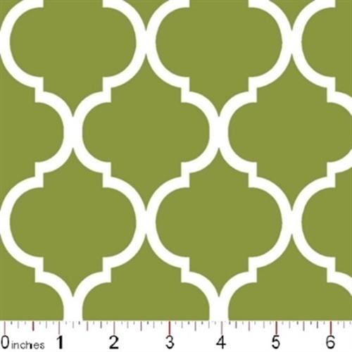 Cotton Fabric - Pattern Fabric - Quatrefoil Lattice Pattern White on ...