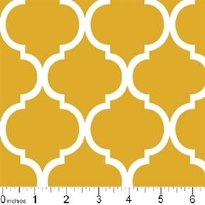 Quatrefoil Lattice Pattern White On Mustard Yellow Cotton Fabric
